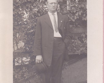"Ca. 1920's ""Handsome Man"" in Yard Real Photo Post Card - 1368"