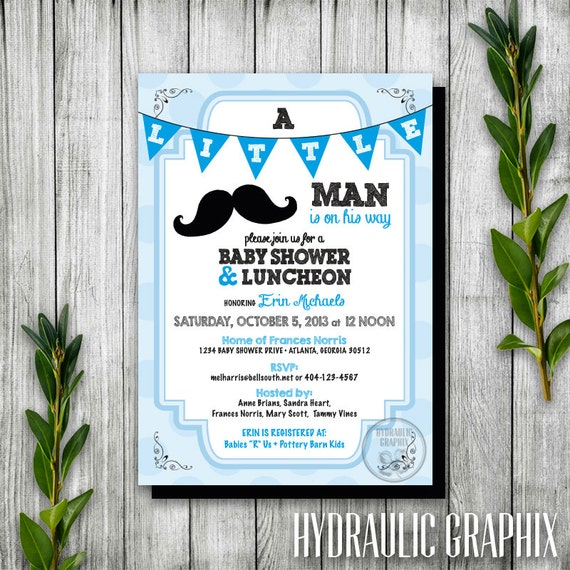 baby shower invitation mustache theme little man theme little man