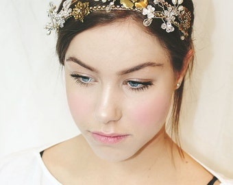 My Regal Mary bridal headband - gold and silver tiara with flowers, crystals and pearls