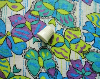 turquoise, purple and bright green butterfly print vintage full feedsack fabric