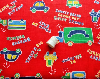 trucks juvenile novelty print vintage cotton fabric -- 42 wide by 1/2 yard