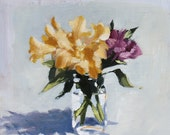 Yellow Flowers in Glass Jar, Still Life Painting, Oil on Wood panel, 14x14 inch Canadian Fine Art Wall Decor