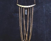 Quartz Crystal Point, Gold tone draped chain, Raw Brass Collar Chandelier Bib Necklace.