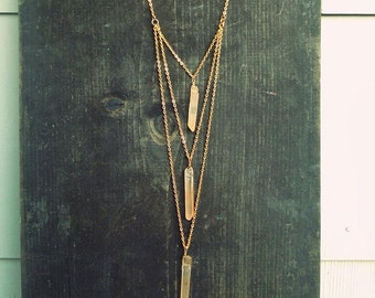 Rose Quartz Crystal Point, Draped Gold tone Chain Bib Necklace