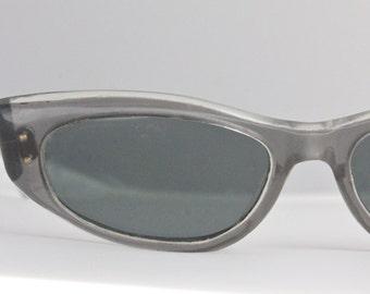 Vintage 50's French Smokey Gray Cat Eye Sunglasses Frames