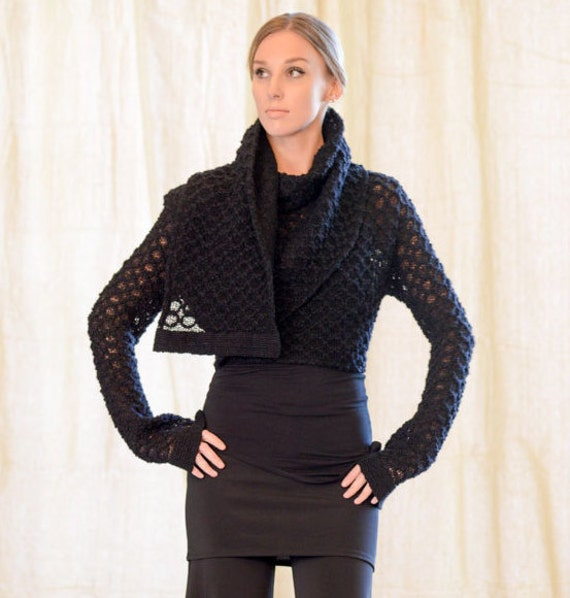 Knitted Sweater Bolero Wrap Ash Wool