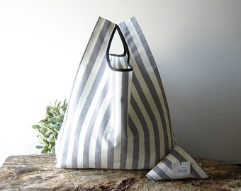 striped tote bag / cotton shopping bag / gray and white stripes / minimalist bag / baby shower gift / gift for her / women accessories