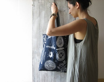 botanical tote bag with long handles / floral shopping bag / blue cotton grocery bag / capacious market bag / for her / beach bag