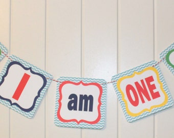 POOL PARTY Beach Party First Birthday Party Highchair Banner I Am One Red Blue