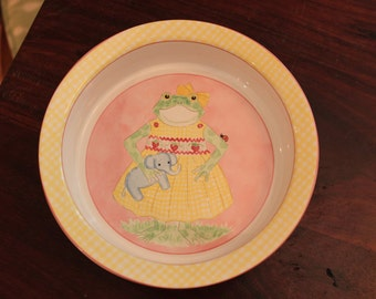 Vintage Baby Bowl, KBR, Kelly B Rightsell Designs Child's Ceramic Bowl, Frog & Elephant