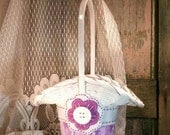 Lavender and Purple Flower Girl Basket, Purple Wedding Decor, Cottage Chic, Spring or Summer Wedding, by Green Orchid DS.