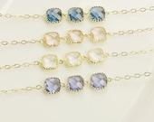 Gold Crystal Bracelet - Dainty Gold Bracelet - Choose Your Color - Crystal Bridesmaid Bracelet - Bridesmaid Jewelry - Wedding Jewelry