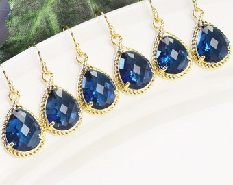 Navy Blue Earrings SET OF 8 - Bridesmaid Earrings Gold - Gifts for Bridesmaids - Bridesmaids Jewelry Set - Wedding Jewelry Set -