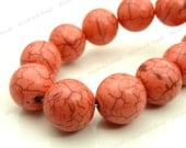 12mm Pink Coral Magnesite Round Gemstone Beads - 17pcs - Opaque, Brown Veining - BE16