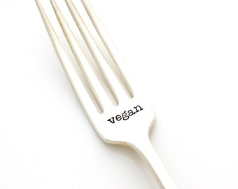 Vegan. Hand stamped fork for healthy living motivation. By Milk & Honey ®
