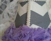 Grey Chevron and Lavender MINI Lamp Shade