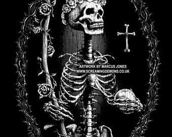 Santa Muerte, Day of the Dead Art, Dia De Los Muertos ,NOT (day of the dead T-shirt,Day of the dead jewelry,day of the dead bag)