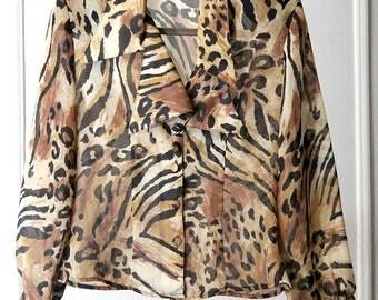 Sheer Animal Print 90s Jacket / Blouse