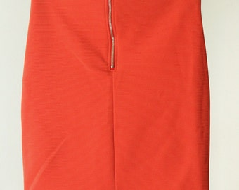 Red-Orange Tight High Waisted Skirt with Ribbed Texture and Exposed Zipper