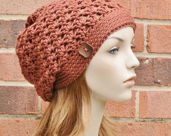 Rust Orange Slouchy Hat -  Womens Slouchy Hat - Crochet Slouch Hat - Button Beanie Hat - Winter Accessories // THE RILEY //