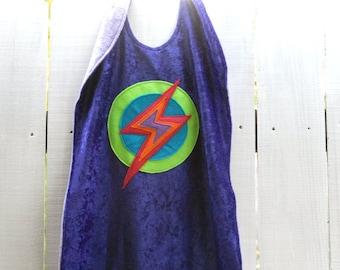 Super Girl Cape PURPLE - Super Cape - Birthday Cape - Super Hero Cape with Lightening Bolt - Halloween Costume