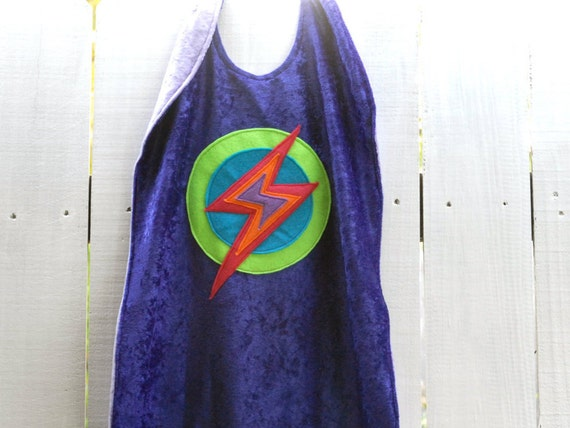 Super Kid Cape PURPLE - Super Cape - Birthday Cape - Super Hero Cape with Lightening Bolt - Halloween Costume