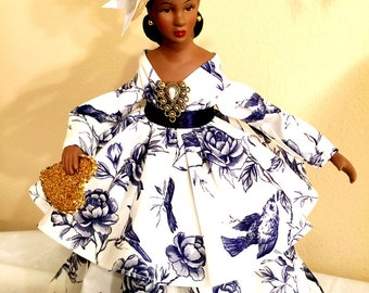 African American Virtuous Woman Art Doll OOAK Black Doll Personalized Hang Tag Free