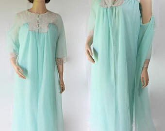 60s Dena Peignoir Negligee Lingerie Mad Men Betty Draper Blue Night Gown