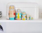 Owl Nesting Dolls / Matryoshka Russian Dolls / Set of 6 / Colorful / Geometric / Art Dolls