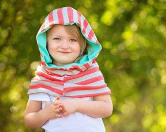 Cowl Neck Hood - Cowl Neck Scarf - Hoodie Cowl - Cowl Hood - Cowl Scarf - Girls Cowl Hood - Striped Scarf - Colorful Scarf - Kids Hoodie