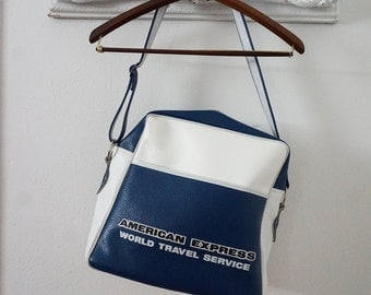 Vintage Blue and White American Express Carry On Shoulder Bag