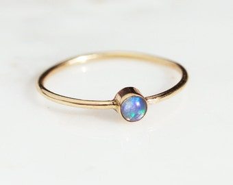 Solid 14k or 18k Gold Australian Opal Thin Stacking Ring