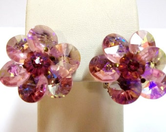 Vintage Pink Rhinestone Earrings Pink Rivoli Margarita Stones Iridescent Pink Bridal Earrings Pink Flower Pink Wedding Jewelry DD 700