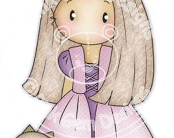 Digi Stamp Princess Chloe 2  - Girls Birthday Card, Party  Invitatations etc
