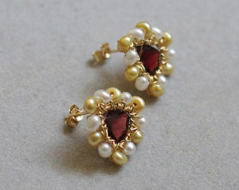Post Earrings with Garnet, fresh water pearls, 14K Gold filled, wire wrapped. January birthstone. E198.