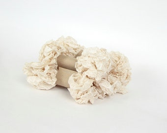 5 m - 5.4 yards - OATMEAL  Shabby Wrinkled Ribbon - Crinkled Seam Binding Ribbon