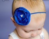 Royal Blue Petite Satin Singed Flower Skinny Headband - Cobalt Photo Prop Hair Accessories - Newborn Baby Hairbow - Little Girls Hair Bow