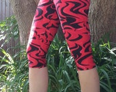 Medium Mid Rise Yoga Leggings, Running Tights, Yoga pants, Jogging leggings. Bright Red with Black Psychedelic Swirls..