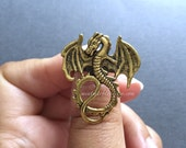 Antique Gold Dragon Ring. Mystical. Magic. Fantasy. Vintage Style. Spooky. Adjustable Rings. Medieval Fantasy Rings. Gold. Under 15 Gifts