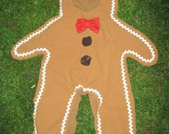 Upcycled Gingerbread Man Costume - Made from reclaimed fabrics, Child Size Custom made