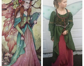 Upcycled Steampunk Clothing, Woodland Fairy Costume, Victorian Pixie, Autumn Fairy, Guardian Fairy
