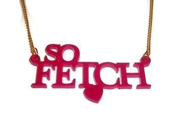 So Fetch Necklace, Mean Girls Jewelry, Hot Pink Laser Cut Gretchen Weiners, Regina George