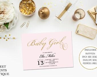 Girl Baby Shower Invitation, Pink, Black, Elegant, Modern