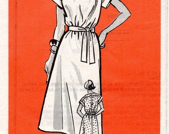 Parade Retro 80s Sewing Pattern Mail Order Casual Sheath Dress Raglan Sleeves Boat Neck Housedress Size 14 Bust 36