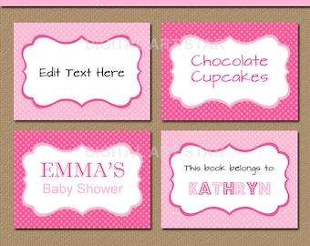 EDITABLE Pink Buffet Cards, Printable Labels, Tent Cards, Valentine's Day Labels, DIY Food Labels - INSTANT Download - Baby Shower, Baptism