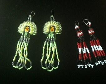 2 Pair Native American Beaded Pierced Earrings Headdress Tassel Hand Made