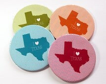 I Love Texas Coasters, Drink Coasters, Texas Coasters, Coasters, Texas Map Coaster, Texas, Chevron, State Coaster, Housewarming Gift (5065a)