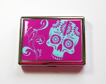 Cigarette Case, Metal cigarette case, Cigarette box, Case for Smokes, Skull, Day of the Dead, purple, Sugar Skull, Día de Muertos (4910)