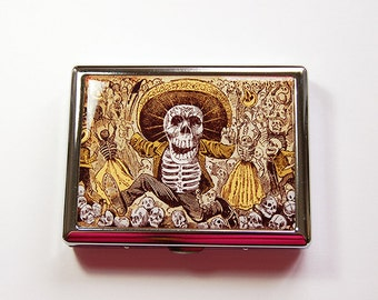 Skeleton Cigarette Case, Cigarette Holder, Cigarette Case, Day of the Dead, Metal Wallet, Cigarette dispenser, Stainless Steel, skull (4918)