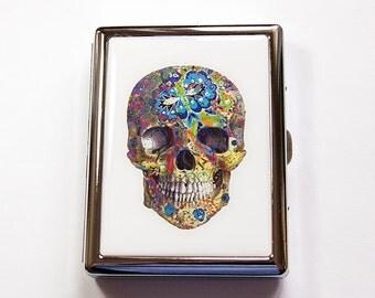 Skull Cigarette Case, Cigarette box, Day of the Dead, Dia de los Muertos, Sugar skull,  Mardi Gras Skull, Painted Skull (4935)
